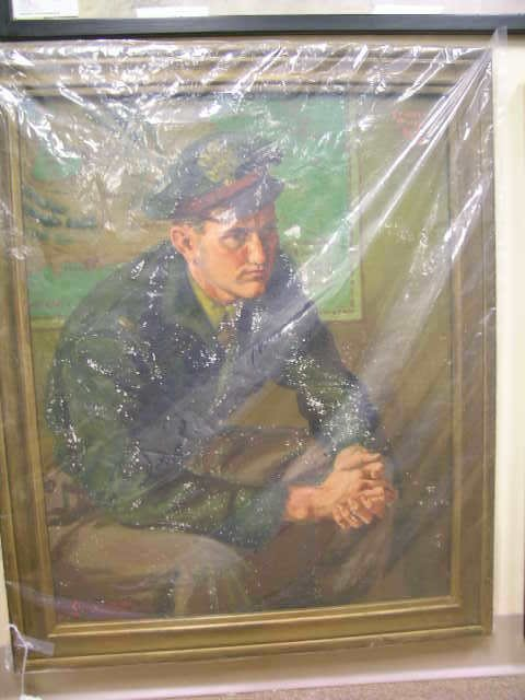111: OIL PAINTING SOLDIER SIGNED FRANKLIN MOODY 1947