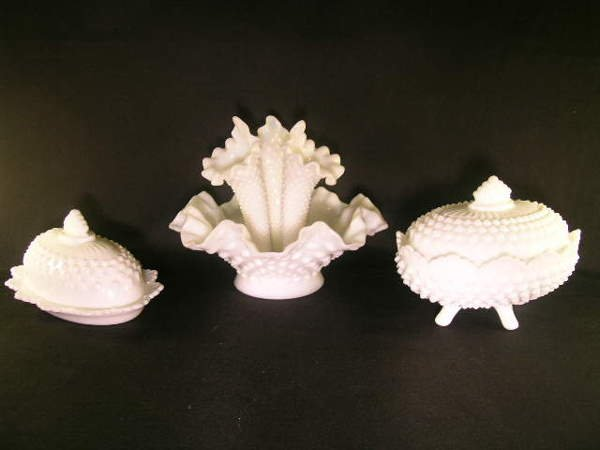 3: FENTON MILK GLASS EPERGNE BUTTER DOME CANDY DISH