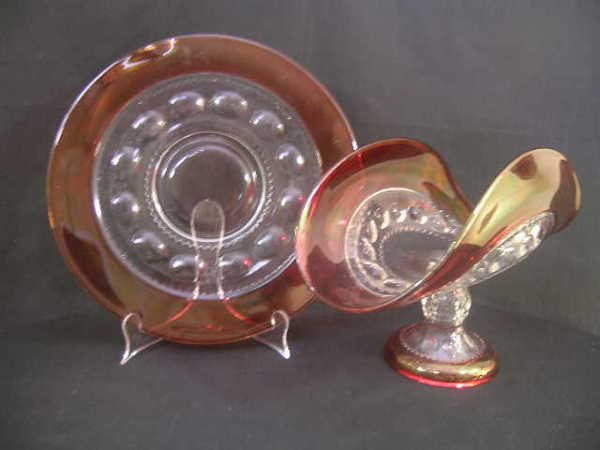 18: EAPG CRANBERRY FLASH GLASS PLATTER AND BOWL
