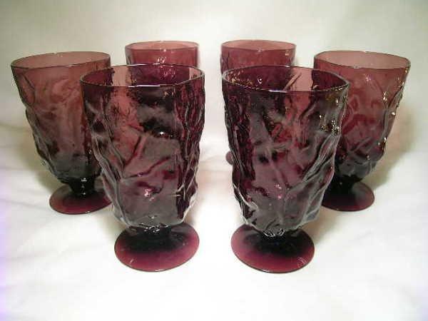 20: BLENKO? 6  AMETHYST 1950-1970'S WATER GLASSES