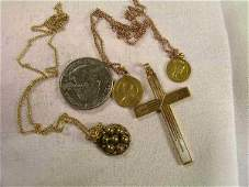 174 GROUP 14 KT GOLD RELIGIOUS MEDALS CROSS CHAINS