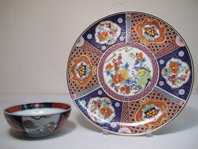 4: IMARI DESIGN BOWL AND TRAY 2 PCS