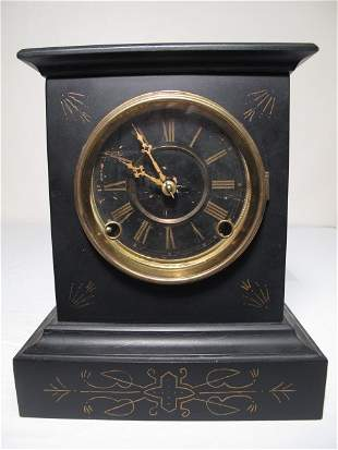 FRENCH BLACK MARBLE MANTLE CLOCK 19TH CENTURY