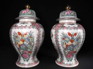 PAIR CHINESE ROSE MEDALLION GINGER JARS