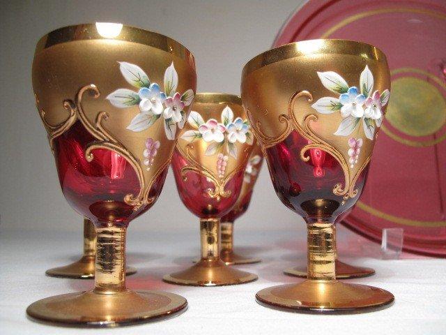 9: ENAMELED CRANBERRY GLASS DECANTER SET W/ TRAY 8 PCS - 3