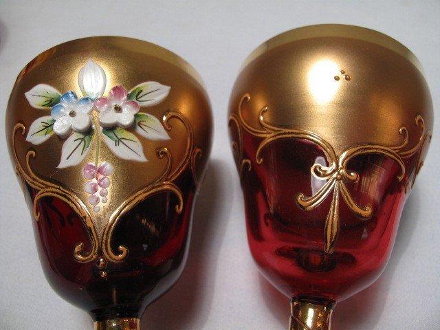 9: ENAMELED CRANBERRY GLASS DECANTER SET W/ TRAY 8 PCS - 7