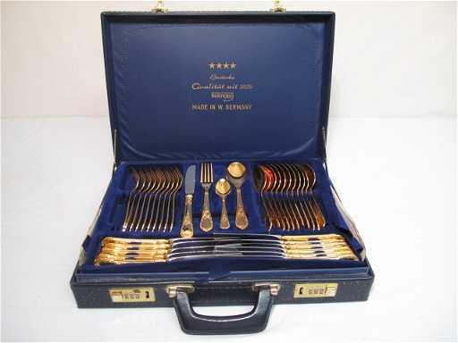 11: GERMAN GOLD PLATED FLATWARE 70 PCS - BESTECKE SBS S