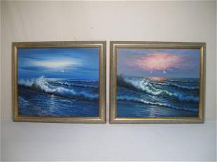 TWO FRAMED SEASCAPE OIL PAINTINGS SIGNED