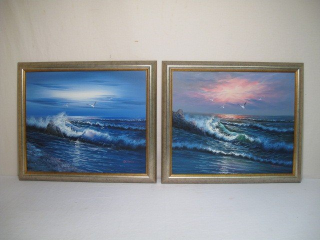 17: TWO FRAMED SEASCAPE OIL PAINTINGS SIGNED