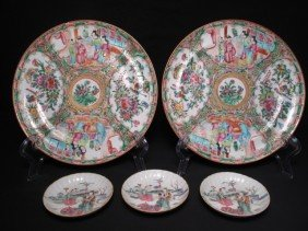 CHINESE ROSE MEDALLION & ROSE FAMILLE PLATES