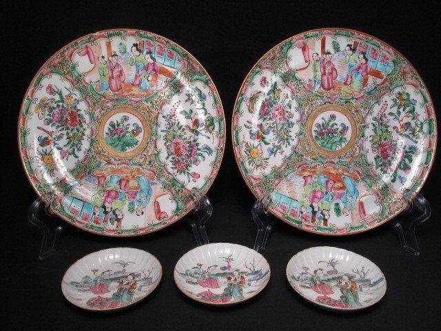 21: CHINESE ROSE MEDALLION & ROSE FAMILLE PLATES