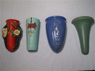 POTTERY WALL POCKETS 4 PCS - WELLER AND MORE