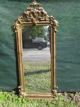 19TH CENTURY GOLD PAINTED WALL MIRROR