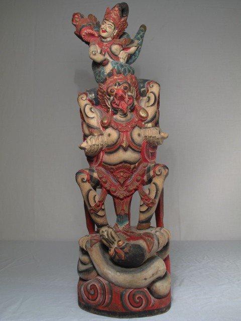 35: SOUTHEAST ASIA PAINTED WOOD FIGURINE GODS