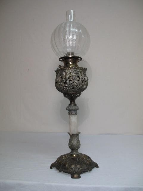 44: 19TH C JUNO OIL BURNING TABLE LAMP EDWARD MILLER CO
