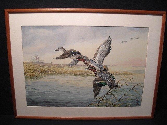 48: BORIS RIAB WATERCOLOR PAINTING: FLYING DUCKS