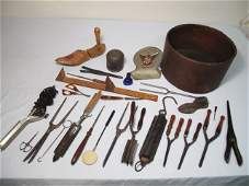 57: 19TH C CURLING IRONS SHOE HORNS SCALE TIN ETC