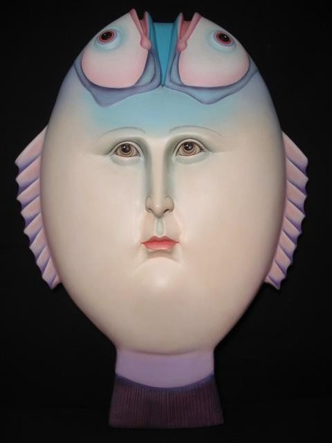 157: SERGIO BUSTAMANTE SCULPTURE - FISH FACE