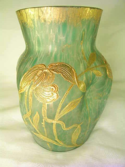336: GREEN ART GLASS VASE GOLD ENAMEL FLORAL DESIGN