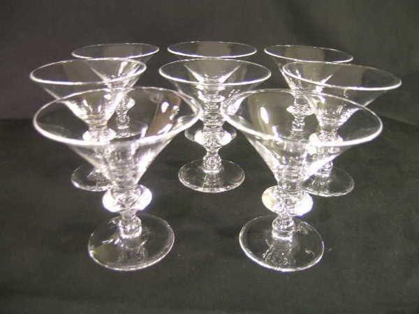 341: STEUBEN CRYSTAL MARTINI GLASSES p# 7737 8 PCS W/BO