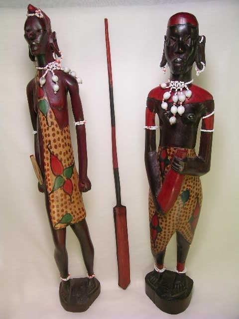 362: TALL WOOD PAINTED AFRICAN TRIBAL FIGURES 2 pc - 10