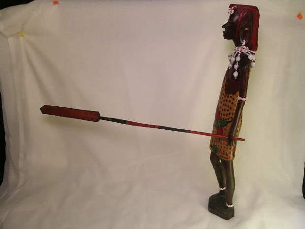 362: TALL WOOD PAINTED AFRICAN TRIBAL FIGURES 2 pc - 2