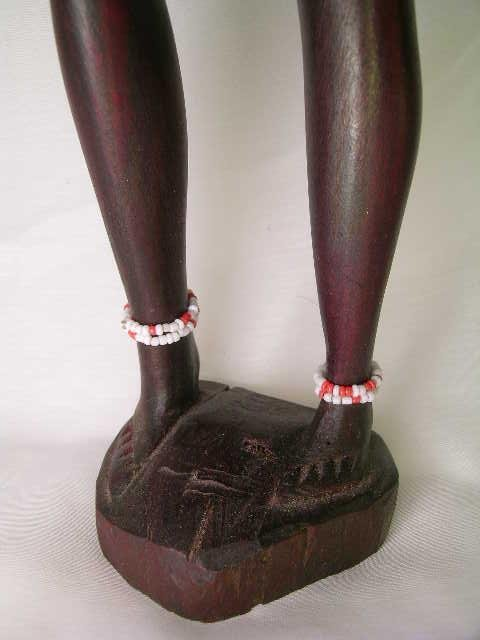 362: TALL WOOD PAINTED AFRICAN TRIBAL FIGURES 2 pc - 3