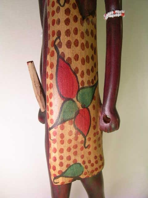 362: TALL WOOD PAINTED AFRICAN TRIBAL FIGURES 2 pc - 4