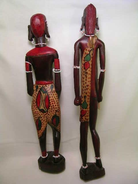 362: TALL WOOD PAINTED AFRICAN TRIBAL FIGURES 2 pc - 9