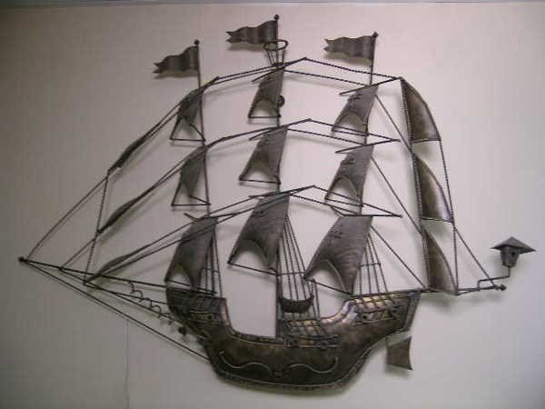 394: VINTAGE METAL WALL ART SAILING SHIP