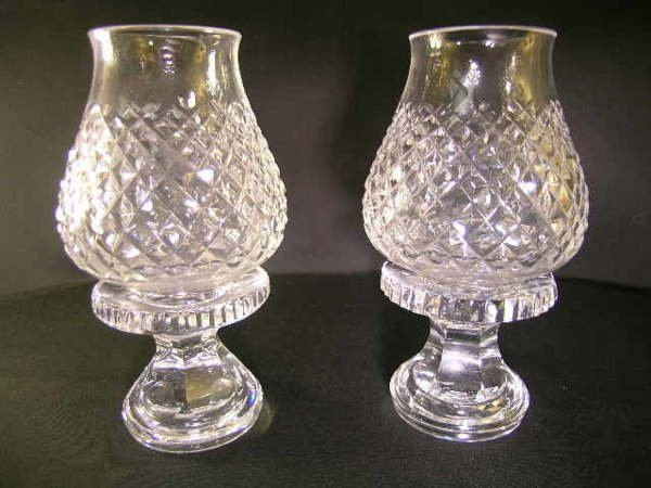 434: TWO SMALL WATERFORD HURRICANE CANDLESTICK LAMPS