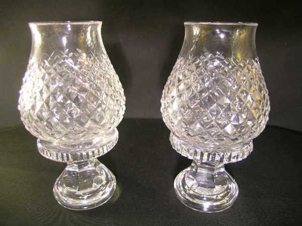 434: TWO SMALL WATERFORD HURRICANE CANDLESTICK LAMPS - 2