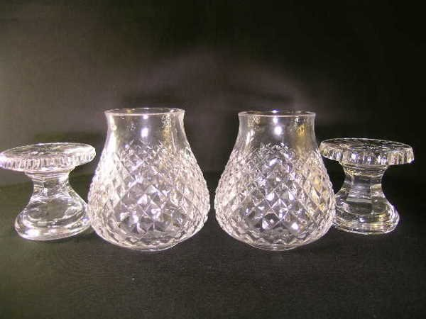 434: TWO SMALL WATERFORD HURRICANE CANDLESTICK LAMPS - 3
