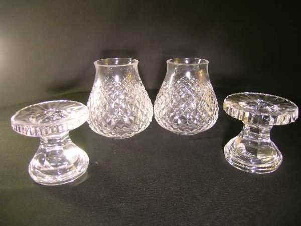 434: TWO SMALL WATERFORD HURRICANE CANDLESTICK LAMPS - 4