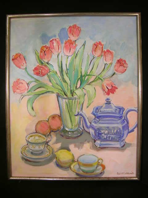 507: OIL CANVAS PAINTING TULIPS SIGNED SYBIL GOLDSMITH