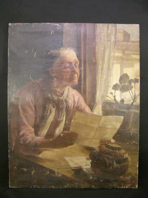533: PAINTING CANVAS MUHLBERG LISTED WOMAN READING