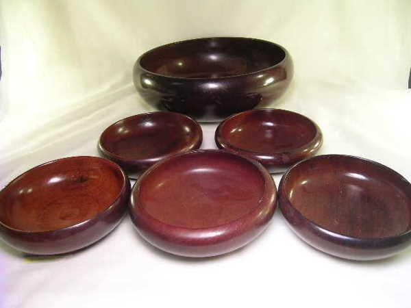 589: MONKEY POD WOOD HAITIAN WOOD BOWLS 6 pc - 7