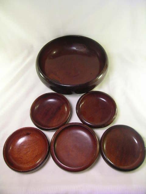 589: MONKEY POD WOOD HAITIAN WOOD BOWLS 6 pc - 8