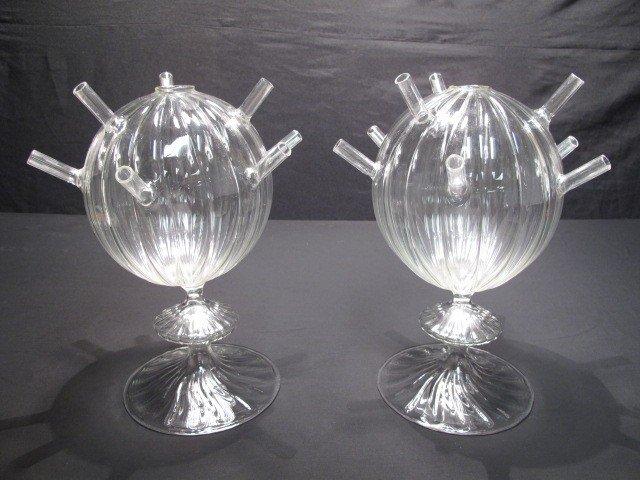 5: PAIR HAND BLOWN GLASS FLOWER VASES