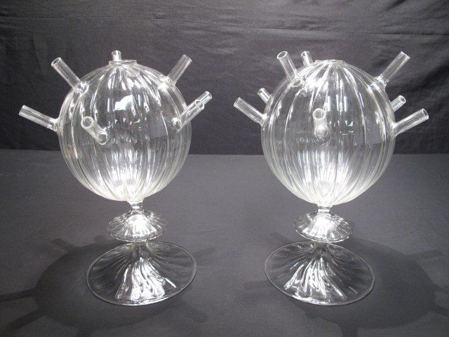 5: PAIR HAND BLOWN GLASS FLOWER VASES