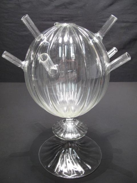 5: PAIR HAND BLOWN GLASS FLOWER VASES - 2