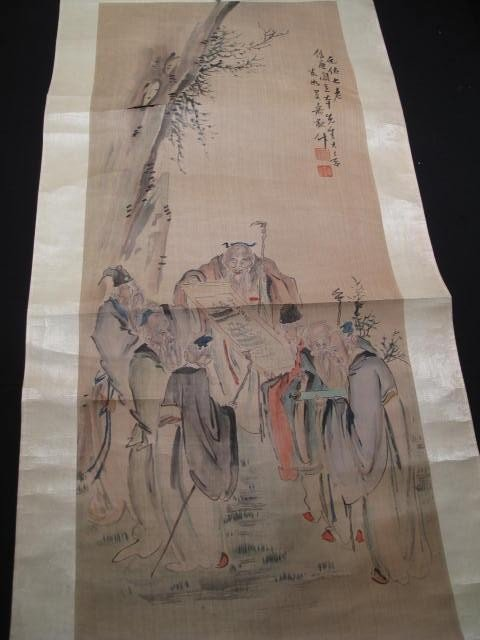 10: ANTIQUE CHINESE SCROLL WATERCOLOR PAINTING