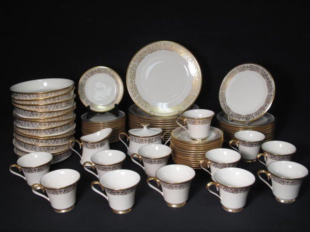 12: LENOX FINE CHINA DINNERWARE: TUSCANY PATTERN 78 PCS