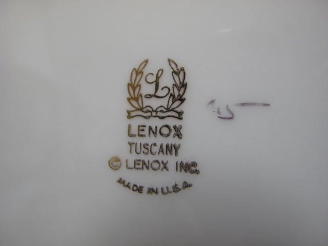 12: LENOX FINE CHINA DINNERWARE: TUSCANY PATTERN 78 PCS - 9