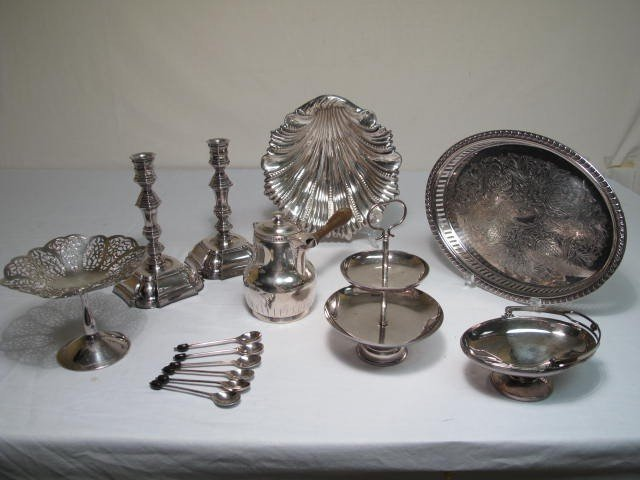 13: LOT ASSORTED SILVER PLATE SERVING ITEMS