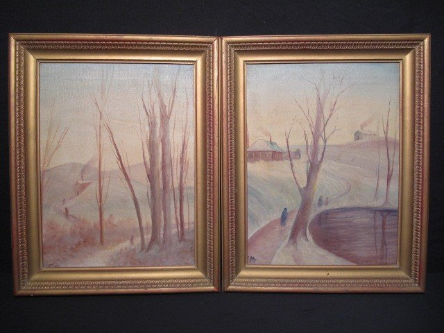 14: PAIR OIL ON CANVAS WINTER SCENE PAINTINGS