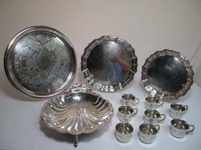 16: ASSORTED SILVER PLATED SERVING PIECES