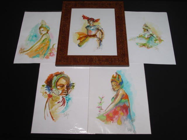 21: FIVE FRENCH WATERCOLOR PAINTINGS OF WOMEN