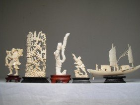 GROUP LOT IVORY CARVED FIGURINES CORAL ETC