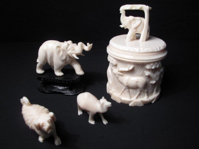 77: CARVED IVORY MINIATURE FIGURINES AND BOX 4 PCS